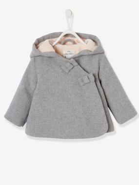 Fabric Coat with Hood, Lined & Padded, for Baby Girls light grey