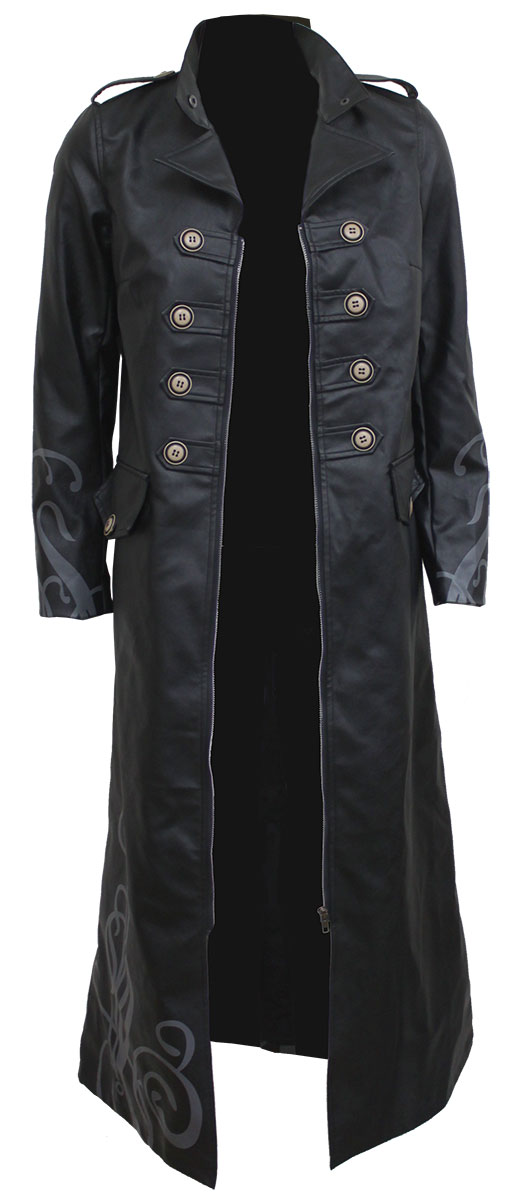 Fatal Attraction Gothic Trench Coat Pu-Leather Corset Back